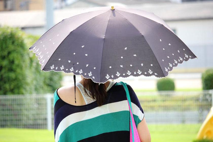 晴雨兼用傘をさす女性