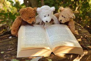 読書する3体のテディベア